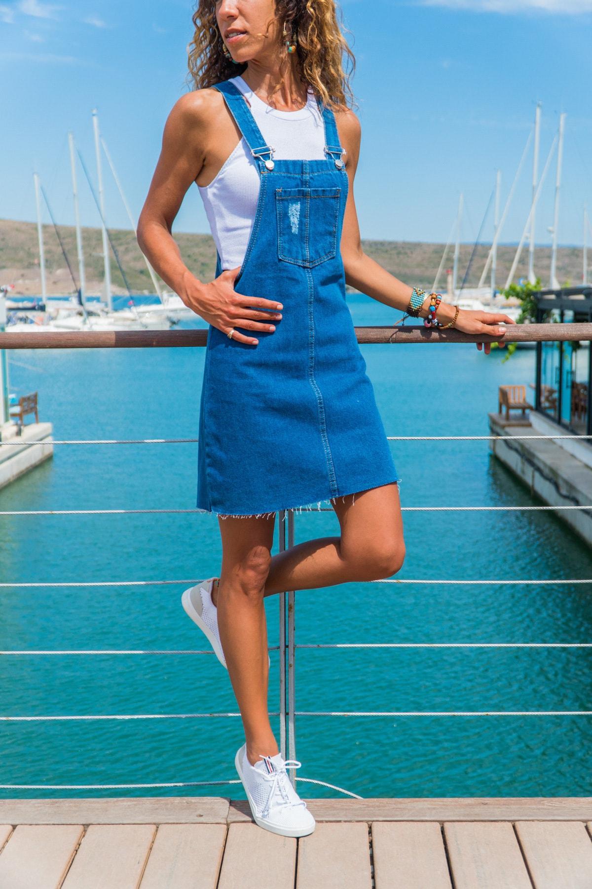 Güneşkızı Kadın Mavi Önü Cepli Salaş Kot Salopet Elbise GK-CM216