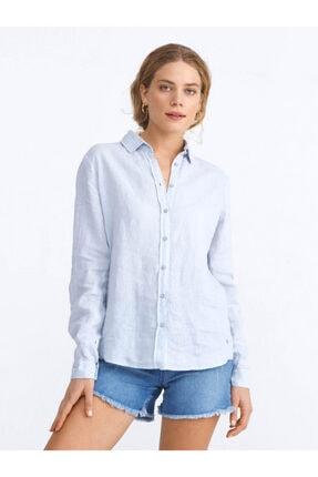XINT Kadın Mavi Keten Rahat Kesim Basic Gömlek