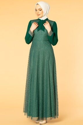 Flarlı Kloş Tesettür Abiye-5007 Zümrüt Yeşili T2549