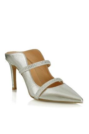 POLETTO Kadın Topuklu Ayakkabı 4924 75 V1 Krıstal Gumus Jevel Suet Beyaz Hkg Crystal R7419-8,5cm