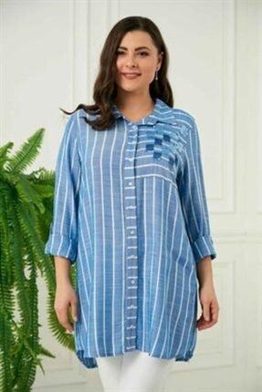 Rmg Pul Payetli Çizgili Büyük Beden İndigo Gömlek