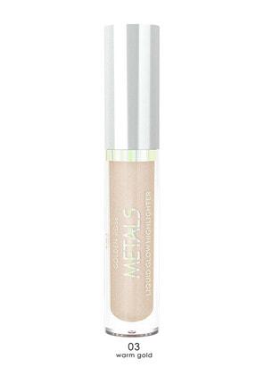 Golden Rose Aydınlatıcı - Metals Metallic Liquid Glow Highlighter No: 03 Warm Gold 8691190138233