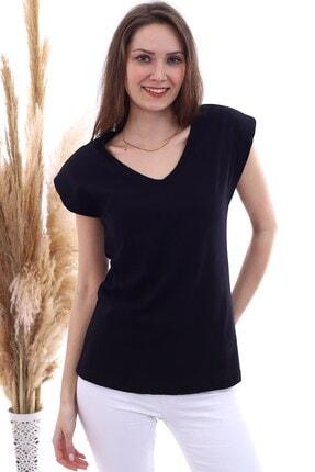 Cotton Mood 20061956 Süprem V Yaka Vatkalı T-shirt Sıyah