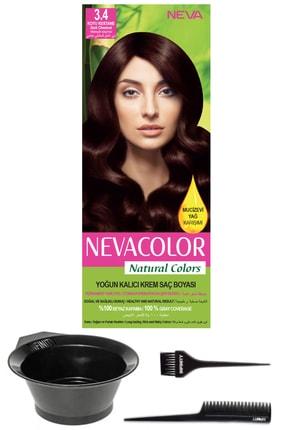 Neva Color Natural Colors 3.4 Koyu Kestane - Kalıcı Krem Saç Boyası Ve Saç Boyama Seti