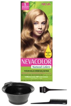 Neva Color Natural Colors 9. Çok Açık Sarı - Kalıcı Krem Saç Boyası Ve Saç Boyama Seti