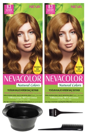 Neva Color 2'li Natural Colors 8.3 Altın Sarısı - Kalıcı Krem Saç Boyası Ve Saç Boyama Seti