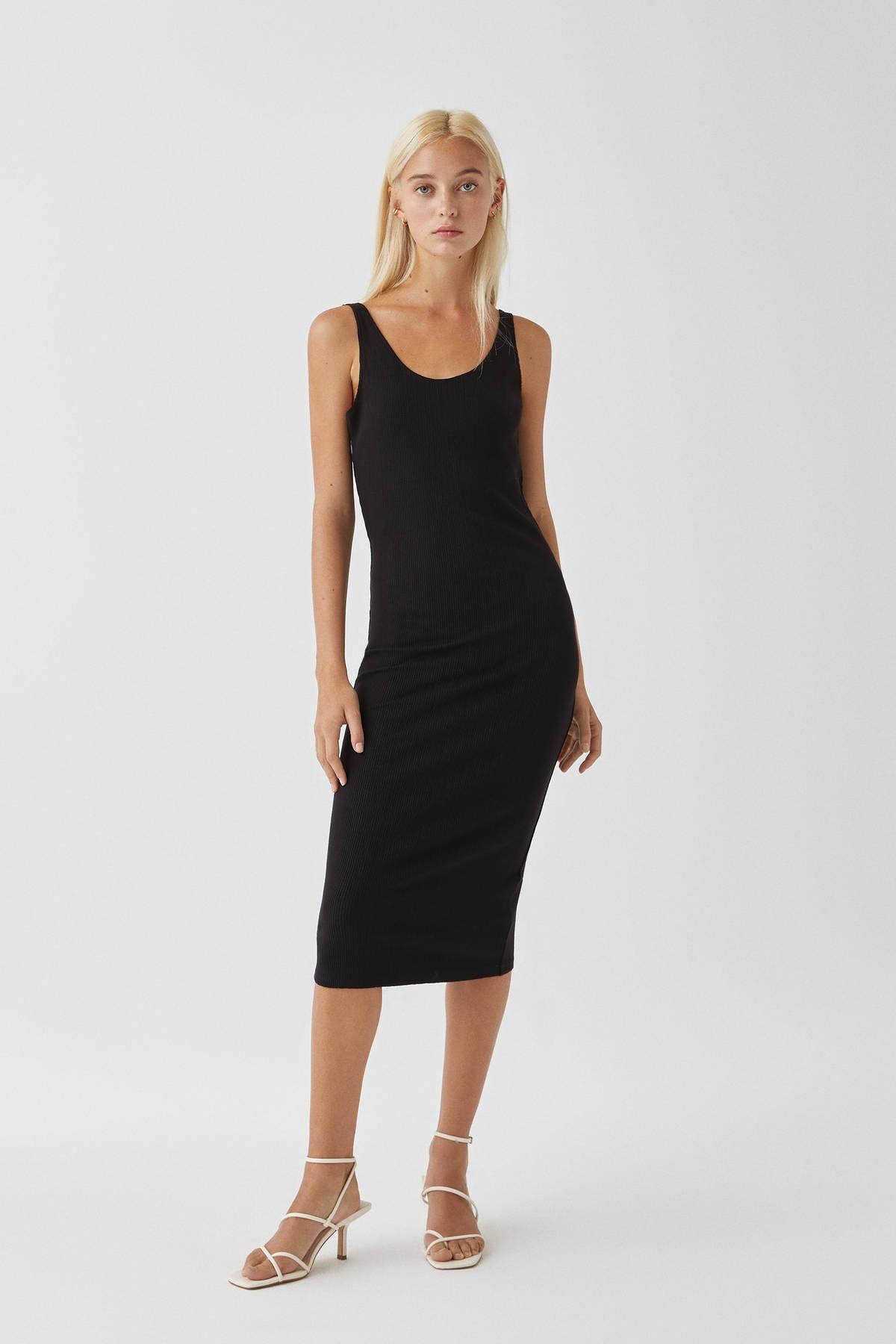 Pull & Bear Kadın Siyah Basic Askılı Midi Elbise 09391305