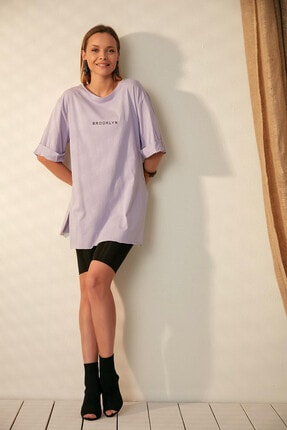 Morpile Kadın Lila Yırtmaçlı Boyfriend Tshirt