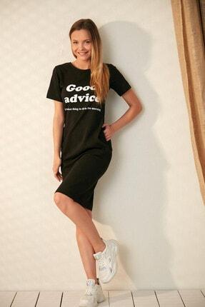 Morpile Kadın Siyah Cepli Kısa Kol Elbise