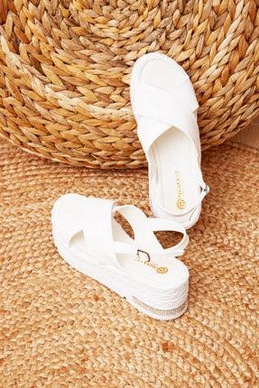 Shoes Time Kadın Beyaz Sandalet 20y 928