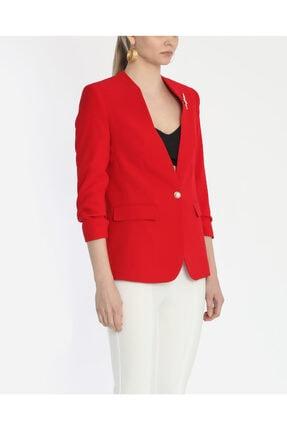 Ayhan Kadın Kırmızı Büzgü Kollu Düğmeli  Ceket