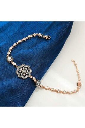 SilverPlus Kadın Rose Zirkon Taşlı Elmas Montür Çiçekli Gümüş  Bileklik