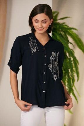 Rmg Lacivert Nakış Detaylı Gömlek