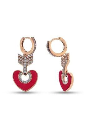 SilverPlus Kadın Kırmızı Mineli Zirkon Taşlı Kalpli Gümüş Küpe
