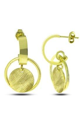 SilverPlus Kadın Altın Renk Yuvarlak Çizgili Plaka Gümüş Küpe