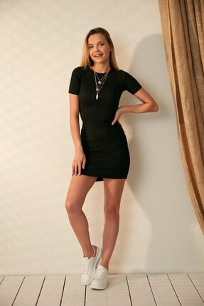 Morpile Kadın Siyah Kısa Kol Mini Elbise