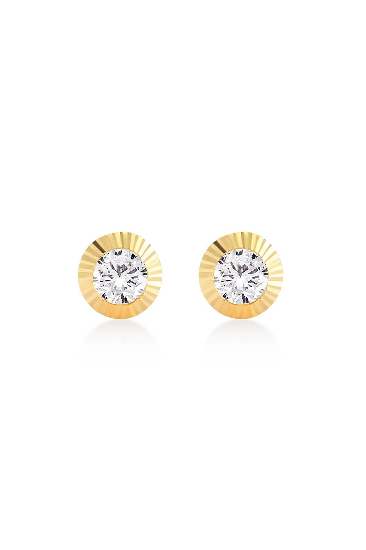 Gelin Pırlanta Gelin Diamond 14 Ayar Altın Taşlı Küpe