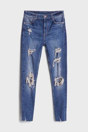 Bershka Kadın Mavi Distressed Detaylı Skinny Jeans