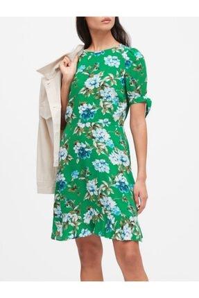 Banana Republic Kadın Yeşil Ecovero Balon Kollu Elbise 585940