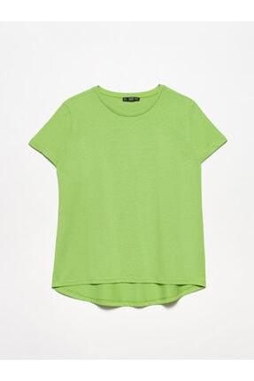 Dilvin 3471 Bisiklet Yaka Basic T-shirt-açık Yeşil
