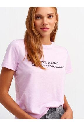 Dilvin 3574 Flok Baskılı Basic T-shirt-lila