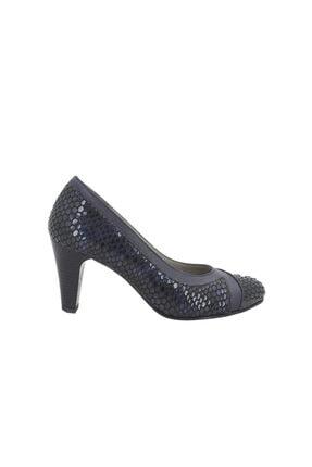 Hobby Lacivert Rugan Deri Kadın Topuklu Ayakkabı 052