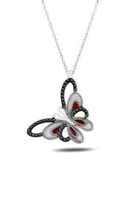 Rams Gümüş Kadın Sedefli Kırmızı Hayal Kelebek Kolye