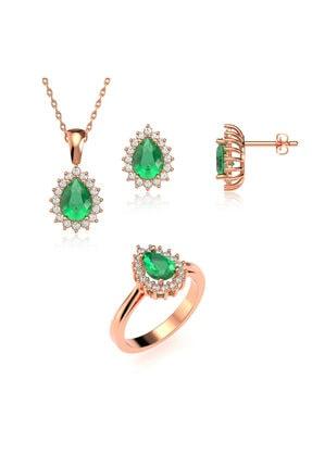 Indigo Takı Damla Yeşil Taşlı Anturaj Pırlanta Montür Rose Gümüş Üçlü Set