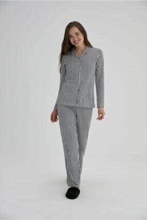 Eros Çizgili Bayan Gömlek Pijama Siyah-27690