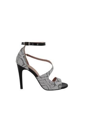 Hobby Siyah Yılan Topuklu Yazlık Kadın Ayakkabı Nm1831