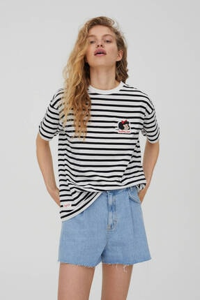 Pull & Bear Işlemeli Çizgili Mafalda T-shirt