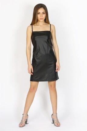 Bsl Kadın Siyah Mini Deri Elbise