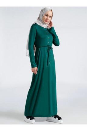 Everyday Basic Kadın Yeşil Düğme Detaylı Elbise