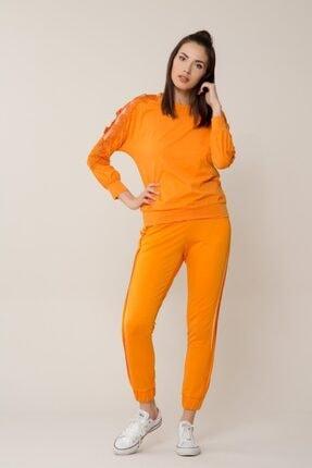 Gizia Kadın Güpür Detaylı Turuncu Spor Bluz M18YBW07513BA