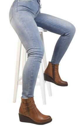 Hobby Kadın  Taba Deri Dolgu Topuklu Bot 3845