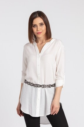 Jument Kadın Krem Keten Hakim Yaka Kolu Katlamalı Tunik Gömlek