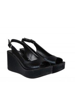 Guja 4099-3 Dolgu Topuklu Siyah Sandalet