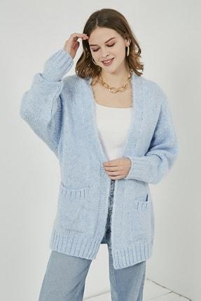 Sateen Kadın Bebe Mavi Cepli Salaş Hırka  STN220KHI331