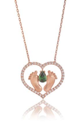 BY BARUN Kadın Rose 925 Ayar Gümüş  Zümrütlü Ayak İzi Kolye