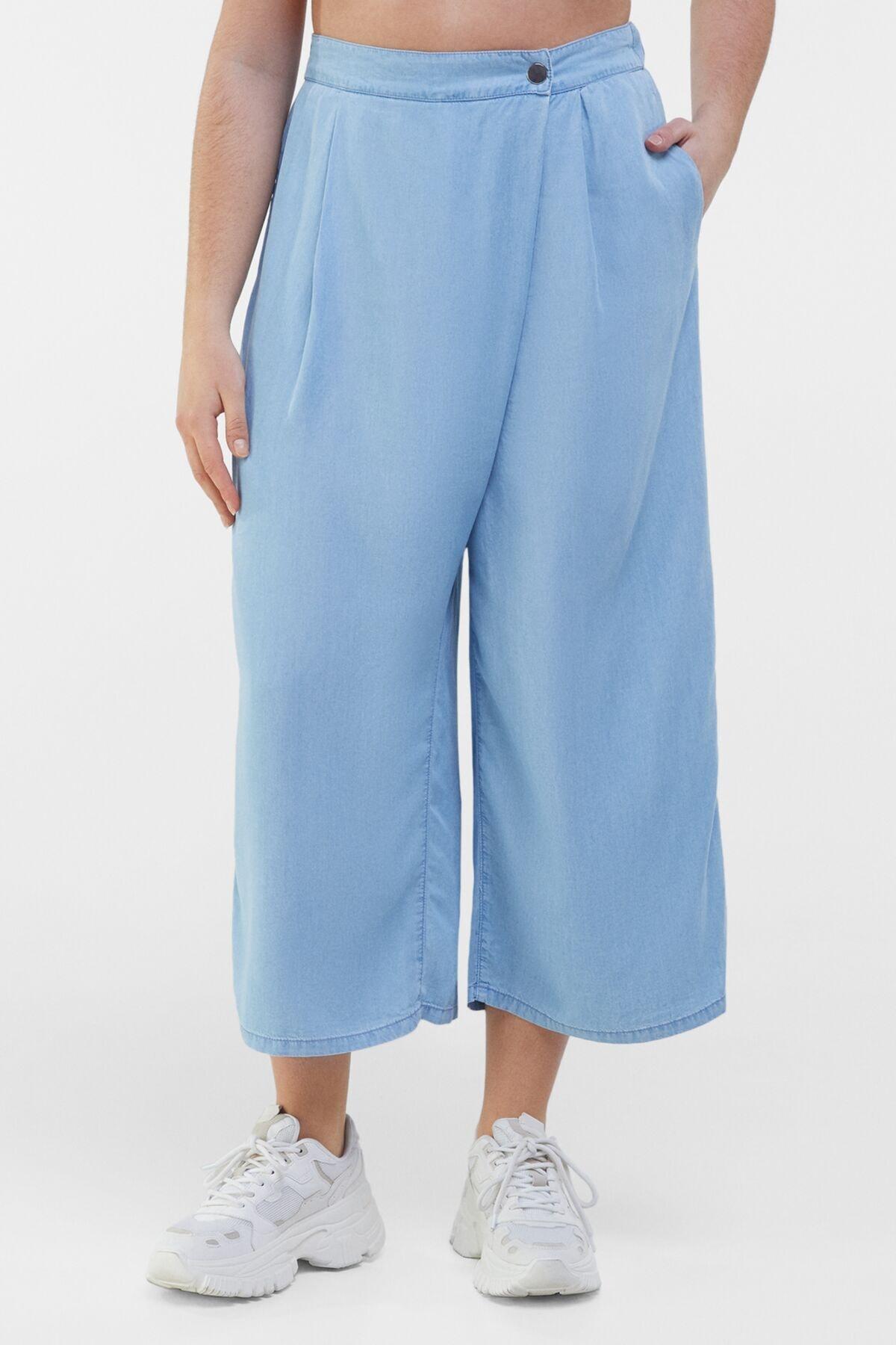 Bershka Kadın Açık Mavi Liyosel Culotte Jean 00071847