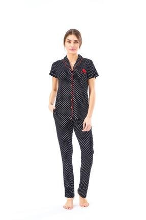 PJS PİJAMA 22124 Kadın Puanlı Düğmeli Pijama Takım