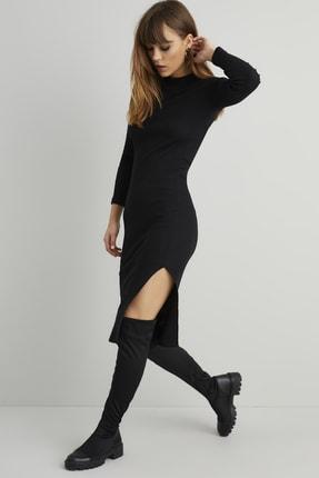 Cool & Sexy Kadın Siyah Yırtmaçlı Maxi Kaşkorse Elbise KY12