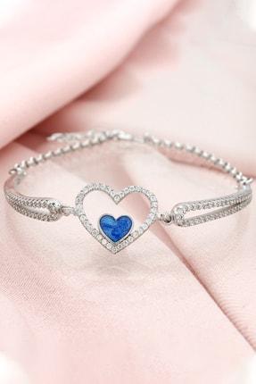 Else Silver Kadın Kelepçe Modeli Mineli Kalp Bileklik