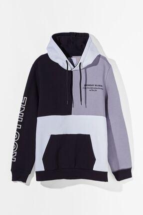 Bershka Kadın Blok Renkli Kapüşonlu Sweatshirt