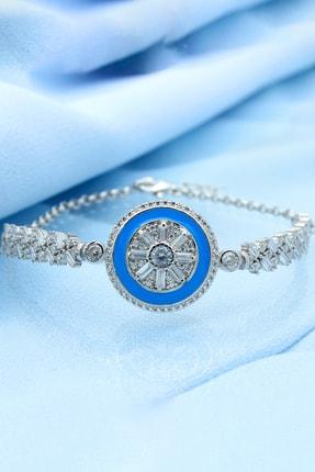 Else Silver Kadın Gümüş Mavi Mineli Baget Kollu Bileklik
