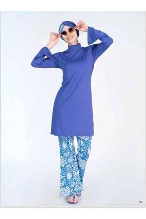 ALFASA Kadın Saks Mavisi Tesettür Mayo 2'li