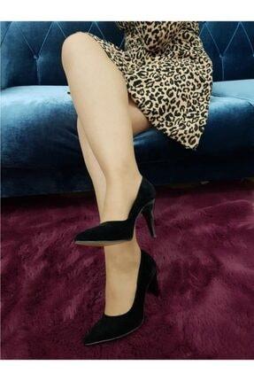 TREND Kadın Siyah Süet Topuklu Ayakkabı