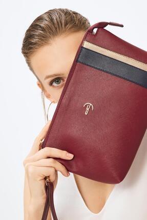Deri Company Kadın Basic Clutch Çanta Düz Desenli Şeritli Logolu Bordo Lacivert (4006b-la) 214012
