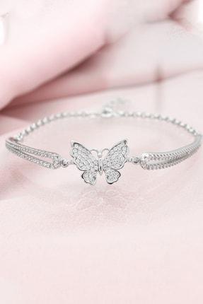 Else Silver Kelepçe Modeli Kelebek Gümüş Bileklik