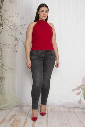 Şans Kadın Antrasit Cep Detaylı Slim Fit Kot Pantolon 65N22289